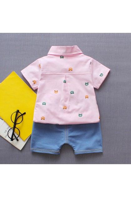 BB965 6M-4YO Baby Kids Short-sleeved Collared Shirt With Pant Set
